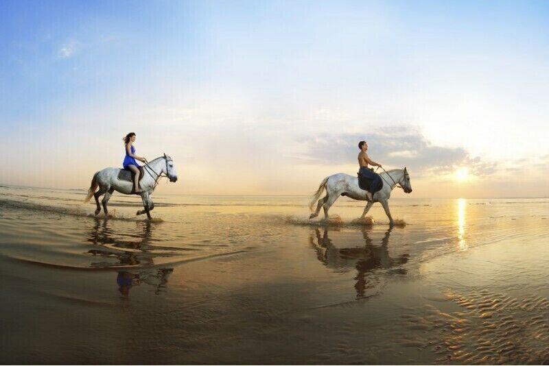 Романтическая верховая езда на побережье